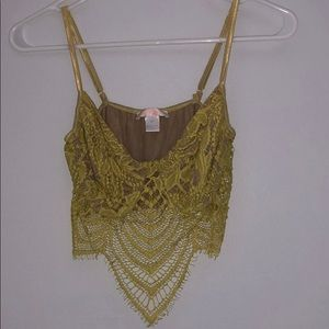Yellow/nude lace crop top